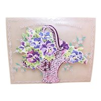 Unused 1950s Get Well Greeting Card - Glad You're Feeling Better - Celluloid Pink Foil & Paper Basket of Pansies