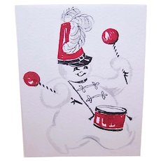 Handpainted C.1958 Party Acceptance - Frosty the Snowman Beating a Drum - Christmas Graphics