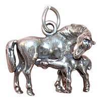 Sterling Silver Charm - 3D Mare with Nursing Foal - Horse Charm