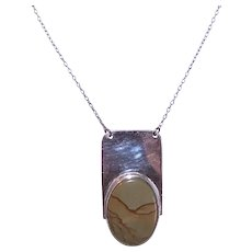 Handcrafted Sterling Silver Picture Agate Pendant Necklace