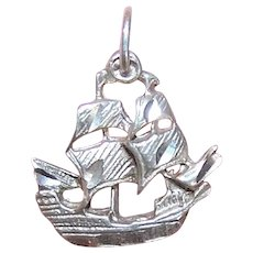 Sterling Silver Charm or Pendant - Masted Ship Spanish Galleon Pirate Ship