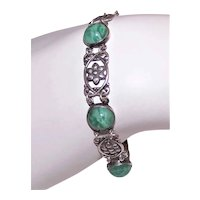 Art Deco Sterling Silver Green Glass Cab Floral Link Bracelet
