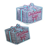 Set/6 Unused Art Deco Gummed Silver Foil Christmas Package Stickers - Red/Green Christmas Gift
