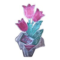 1 Large Vintage Foil Package Sticker of Potted Tulips - Happy Easter