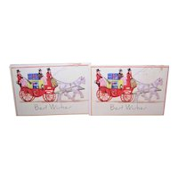 Set/5 Large Art Deco Gummed Christmas Package Stickers - Couple with Horse & Carriage - Best Wishes