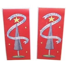 2 Unused Art Deco Gummed Christmas Package Stickers - Christmas Tree - Merry Christmas to You