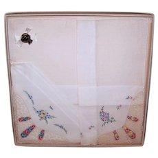 Unused Pair Made in Switzerland 100% Cotton Pure Linen Hand Embroidered Floral Hankies Handkerchiefs - Original Box