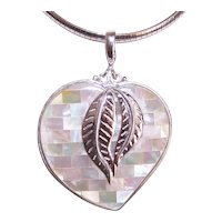 Large Sajen Sterling Silver Mother of Pearl Pendant - Witches Heart with Leaf