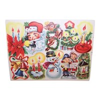 5 Sheets of Vintage Gummed Christmas Xmas Stickers - 50 Seals in All - 10 Diff Designs