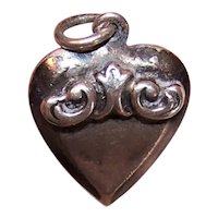 Sterling Silver Puffy Heart Charm - Curlicue Top - No Engraving