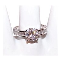 Sterling Silver 1.85CT Cubic Zirconia CZ Solitaire Engagement Ring with Baguettes