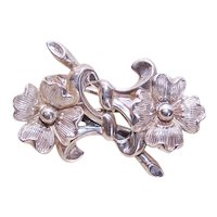 Beau Sterling Silver Double Flower Floral Pin Brooch