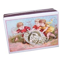 Antique French Pharmacy Box Gift Box for Easter - To Greet You - Children Playing with Easter Egg