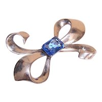 Sterling Silver Blue Glass Paste Statement Pin Shaped Like a Bow