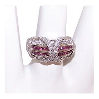 Sterling Silver Red/White Cubic Zirconia CZ Cocktail Ring