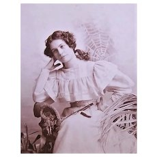 Edwardian B&W Cabinet Card - Young Lady in Chair - Spider Web in the Background