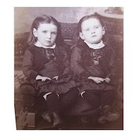 Victorian B&W Cabinet Card Photograph - Twins, Sisters Seated on a Chair