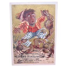 Dr Sheffields Creme Angelique - Tooth Dentifrice - Boy with Crab on His Finger - Victorian Trade Card