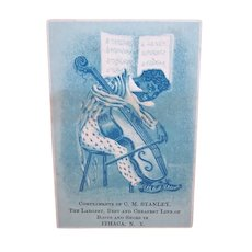 Complements of M. Stanley, Best Line of Boots in Ithaca, NY - Gent Playing Cello - Victorian Trade Card