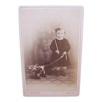 Victorian B&W Cabinet Card Photograph from Germany - Young Boy with Whip and Pull Toy