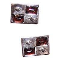 Sterling Silver Amber Cufflinks Cuff Links - Retro Modern Mid Century Design