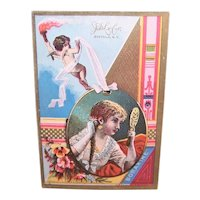 JD Larkin Boraxine -  Lady at Her Dressing Table - Cupid Angel Putti with Torch - Victorian Trade Card