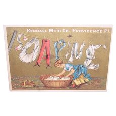 Kendall Mfg Co Soapine -  Woman Hanging the Laundry to Dry - Victorian Trade Card
