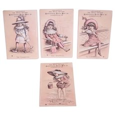 M Roy Wise Confectioners Fruits & Nuts - Young Ladies in Pink - 4 Victorian Trade Cards