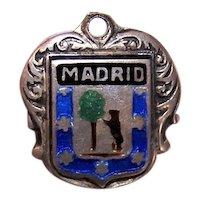 European 900 Silver Enamel Travel Shield Charm - Madrid Spain