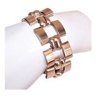 Napier Sterling Silver Rose Gold Vermeil Wide Link Bracelet