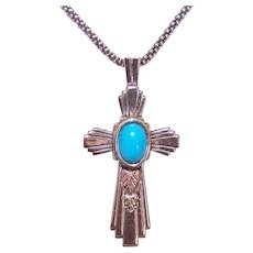 Sterling Silver Black Hills 12K Gold Turquoise Cross Pendant