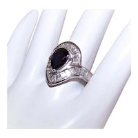 Sterling Silver Cubic Zirconia/CZ Pear Shaped Sapphire Blue/Clear Fashion Ring