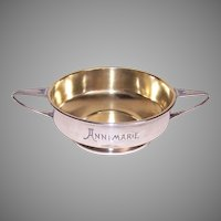 German Art Deco Secessionist 800 Silver Bowl Engraved Anne Marie