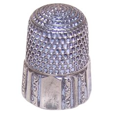 Vintage Simons Bros Size 7 Silver Thimble - Pattern 59, Patented May 28, 1889