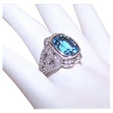 ESPO Sterling Silver Ice Blue Cubic Zirconia CZ Cocktail Ring