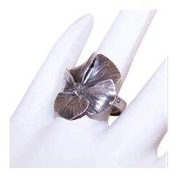Stuart Nye Adjustable Sterling Silver Ring - Pansy Top
