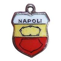 REU 800 Silver Enamel European Travel Shield Charm Souvenir Charm for Naples Italy aka Napoli Italy