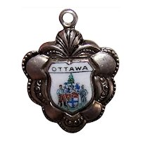 Ottawa Canada Silverplate Enamel Travel Shield Charm Souvenir Charm