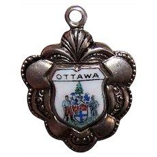 Ottawa Canada Silverplate Enamel Travel Shield Charm Souvenir Charm