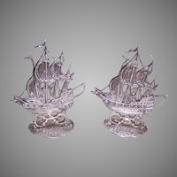 Antique Netherlands 833 Silver Menu Holders - Pair of Masted Ships