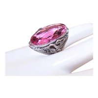 Art Deco Sterling Silver Snake Ring with Large Pink Glass Paste