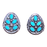 Marie Bahe Navajo Sterling Silver Turquoise Earrings Native American Pierced Studs