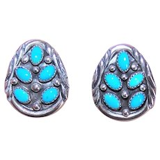 Marie Bahe Navajo Sterling Silver Turquoise Earrings Native American Pierced Studs