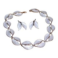David Andersen Norway Sterling Silver Enamel Jewelry Set | Double Leaf White Necklace & Earrings