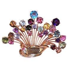 Art Deco 14K Gold Multi-Gemstone Giardinetti Vase of Flowers Pin Brooch | Torpedo Clasp