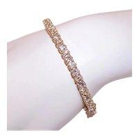 14K Gold 4CT TW Diamond Hinged Bangle Bracelet Cuff Bracelet - Size 6.5