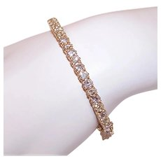 14K Gold 4CT TW Diamond Hinged Bangle Bracelet Cuff Bracelet - Size 6.5