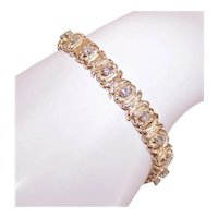 "14K Gold 2CT TW Diamond X's and O's Love & Kisses 7.75"" Link Bracelet"