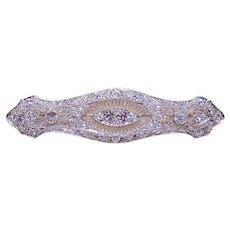 Antique Edwardian Platinum 2.5CT TW Diamond Filigree Pin Brooch