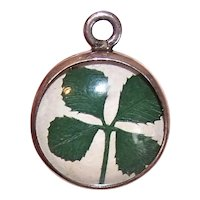 Sterling Silver Plexiglass Bubble Charm - 4 Leaf Clover